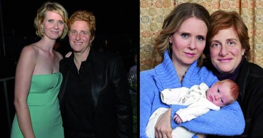Η Cyntia Nixon [Sex and the city] και η συντροφός της Christine Mariononi με το παιδί τους