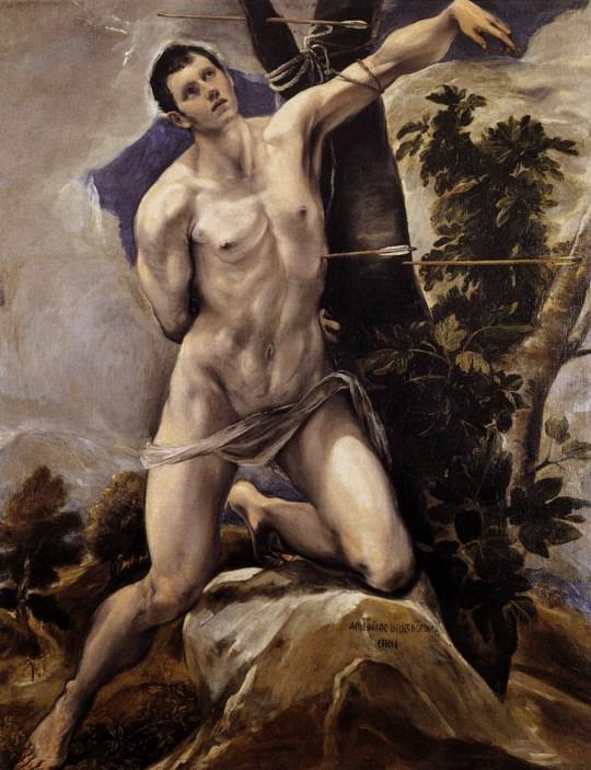 Saint Sebastian by El Greco (1578) in Cathedral of San Antolín, Palencia