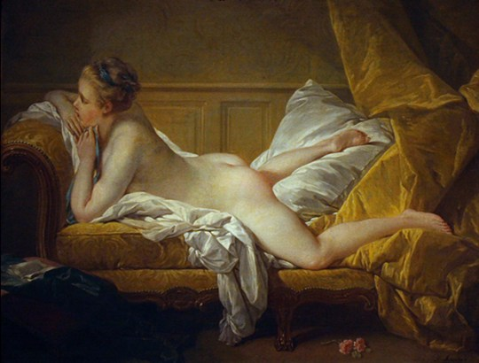 """Resting Maiden"", probably a portrait of Marie-Louise O'Murphy, mistress to Louis XV of France, oil on canvas, 1751."