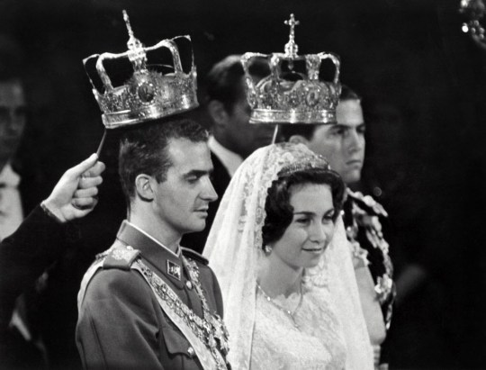 (FILES) - A photo taken on May 14, 1962 shows Prince Juan Carlos of Spain (Juan Carlos Alfonso Víctor María de Borbón y Borbón) and his wife princess Sophia of Greece in Athens during their wedding. Spain's 76-year-old King Juan Carlos will abdicate in favour of his son, Prince Felipe, Prime Minister Mariano Rajoy announced on June 2, 2014. AFP PHOTOHO/AFP/Getty Images