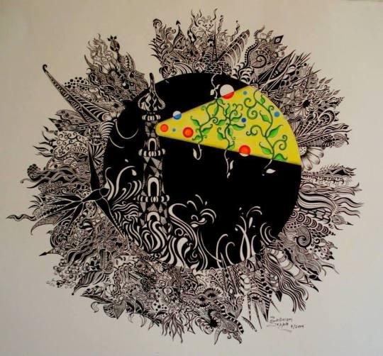 σινική με πένα σε χαρτί, Στέλλα Ζαφείρη, ζωγράφος