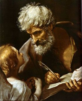 St Matthew and Angel του Guido Reni, (1575-1642), Vatican Museums, Rome