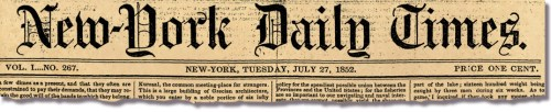 The New-York Daily Times, New York Times.
