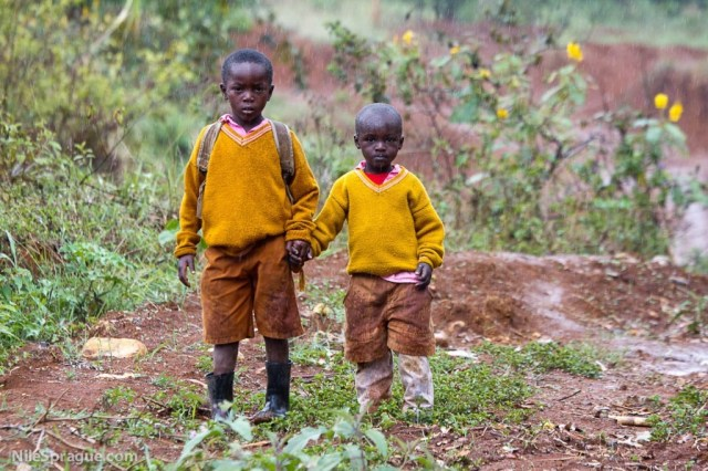 Boys in the rain, Kenya.