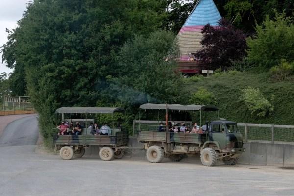 La visite des bisons est réalisée en camion militaire