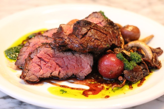 The Grilled Bavette Steak with peewee potatoes, salmoriglio, pioppini mushroom and grain mustard jus from Seattle restaurant Stoneburner.