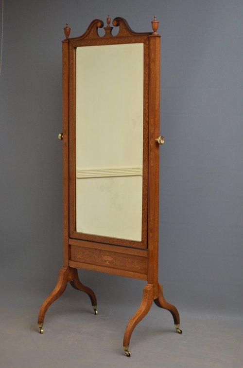 Exceptional Edwardian Inlaid Cheval Mirror