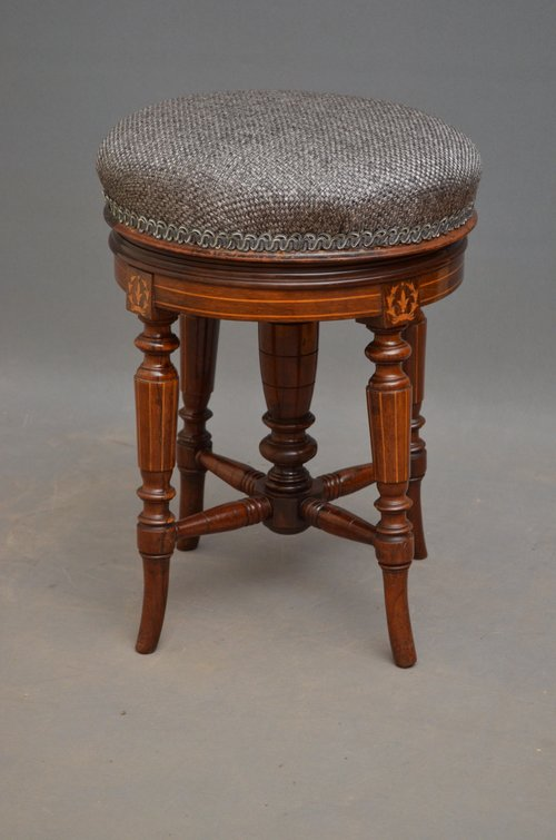 Victorian Mahogany and Inlaid Piano Stool