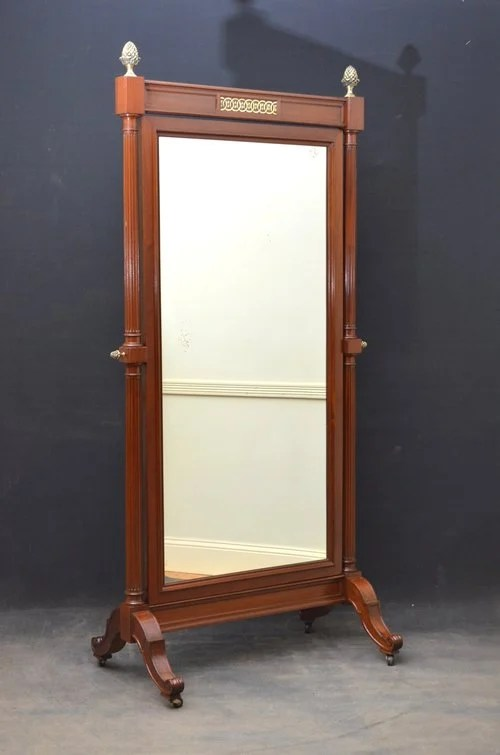 Large Mahogany Cheval Mirror