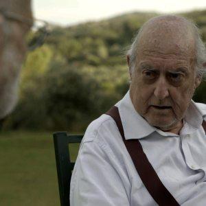 Giazotto insieme a Felice Farina nel film documentario Conversazioni Atomiche