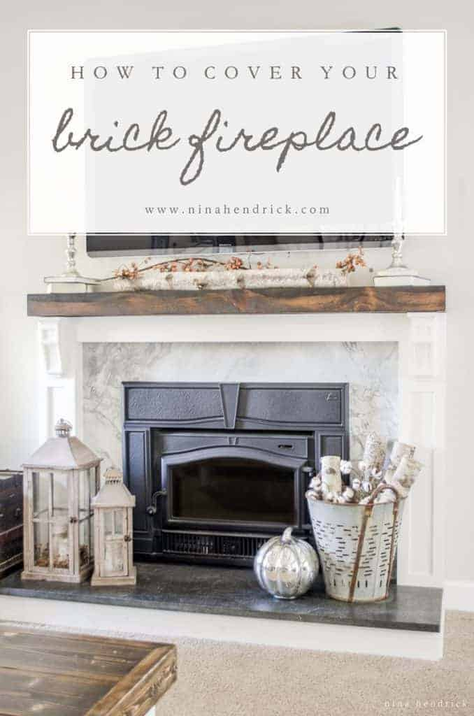 How To Cover Your Brick Fireplace Modern Farmhouse Style