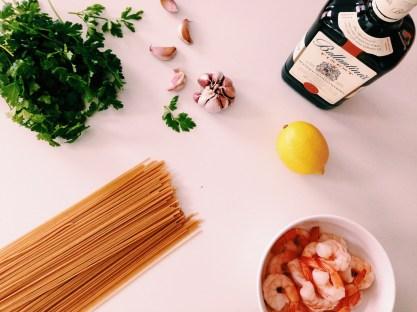 Spaghetti met garnalen en een citroen-wodkasaus