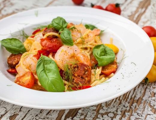 Spaghetti met chorizo & garnalen