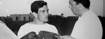 Pasolini e Fellini nel 1956 sul set di Le notti i Cabiria