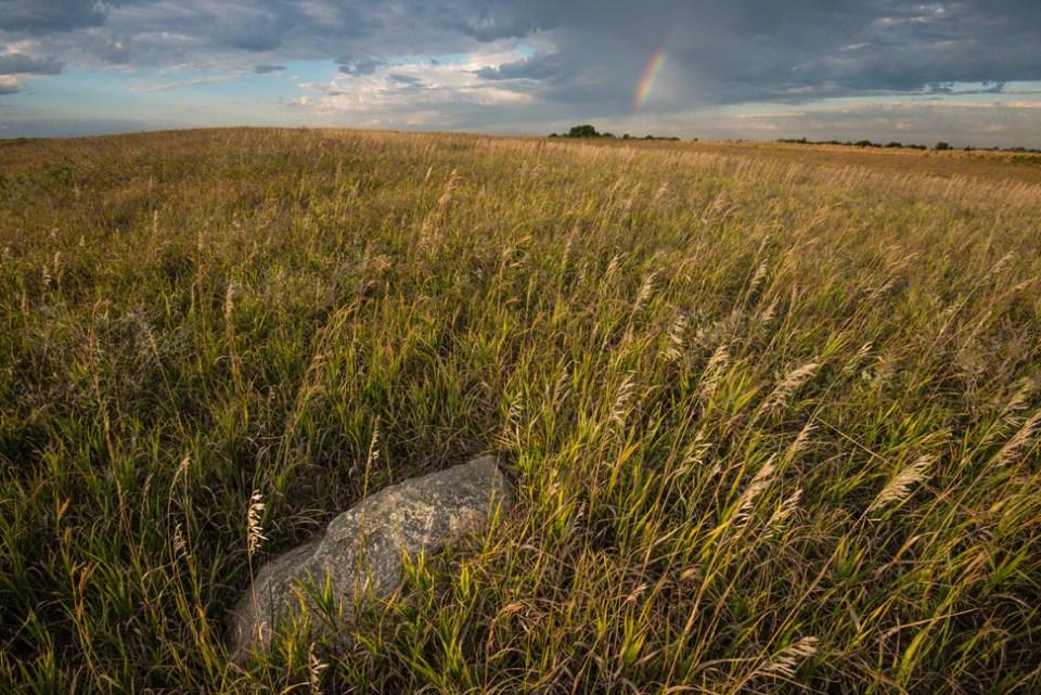 Glacial Erratic with Rainbow