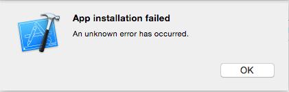 app installation failed กรณีติดตั้ง app ลงบนอุปกรณ์จริงผ่าน xcode