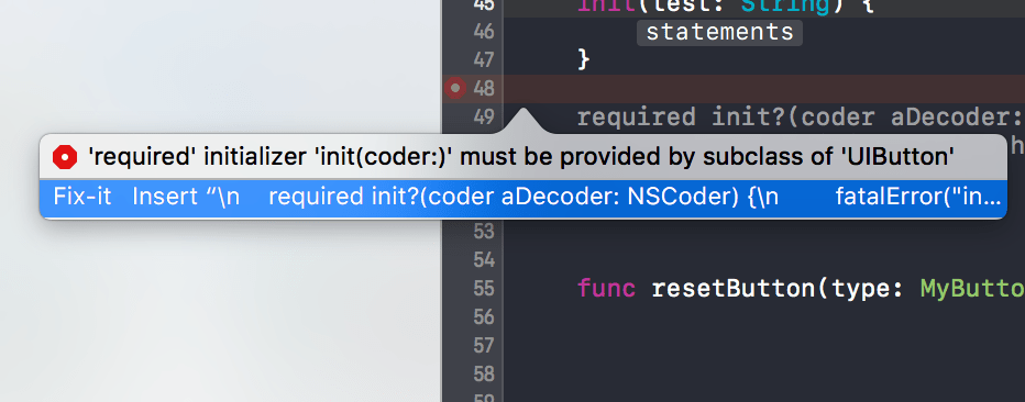 initializer กับ object ที่มาจาก storyboard ใน swift 3