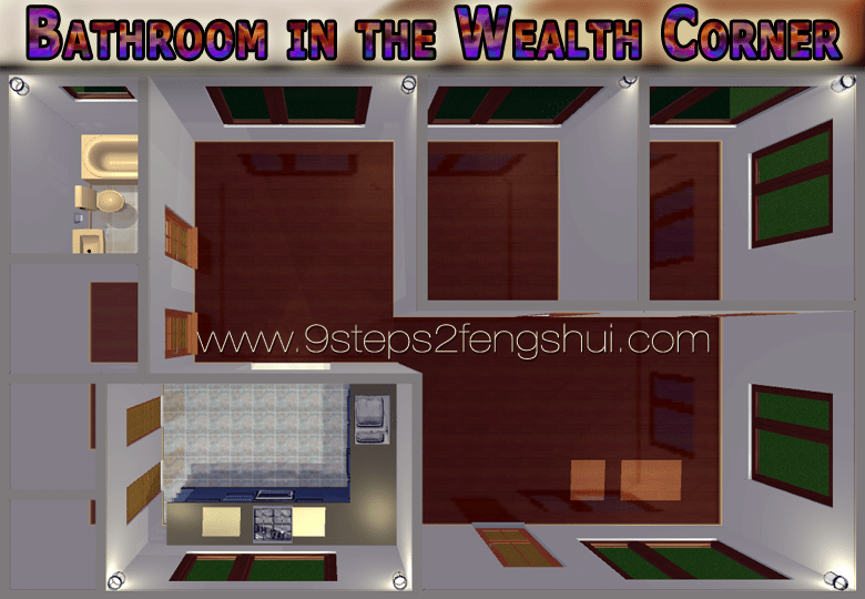 Bathroom in the Wealth Corner