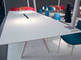Conference table. Like that it white and big with a hole in the middle.