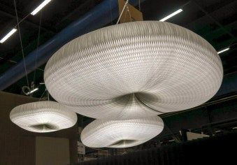 Oddly shaped ceiling lamp in paper.