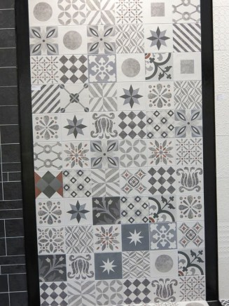Grey patterned tiles. Really nice mix.