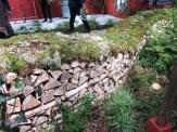 Garden wall built from wood