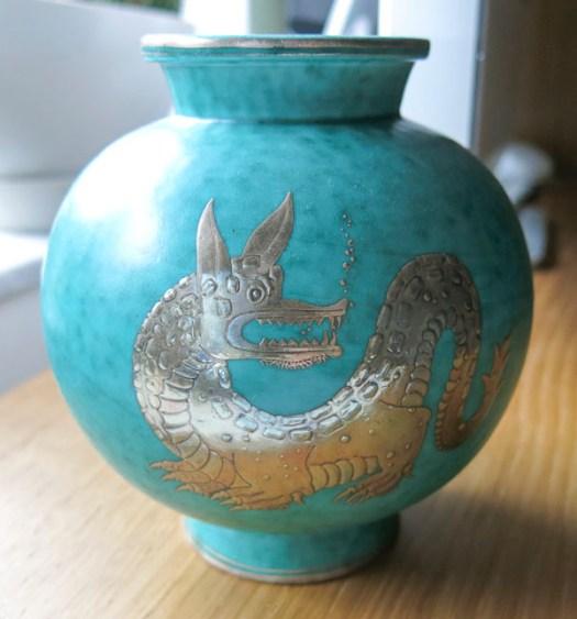 Wilhelm Kåge, argenta vase with dragon, Gustavsberg