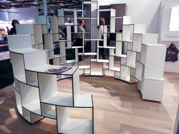 Rounded shelf units. Imagine that in a large room.