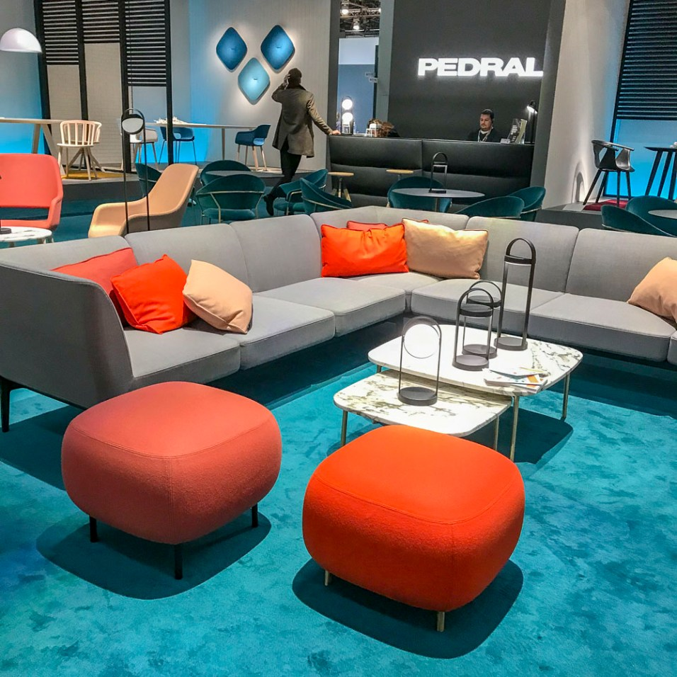 Grey and orange and teal interior.