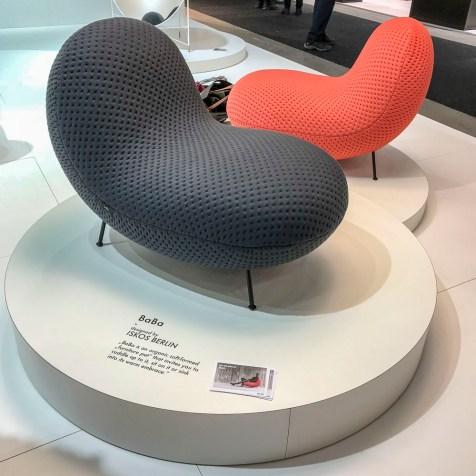 Peanut-shaped chairs.