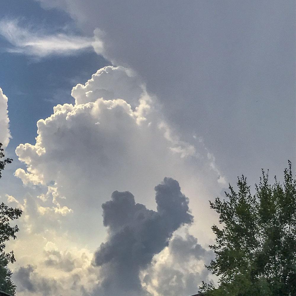 hot, clouds