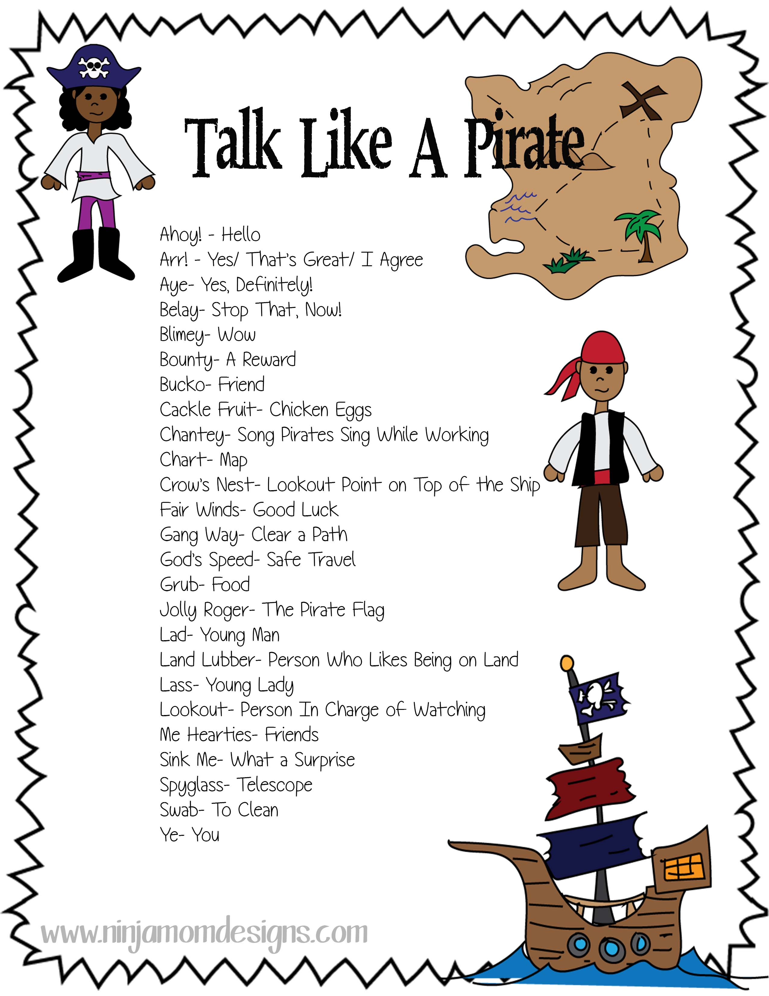Free Talk Like A Pirate Printable