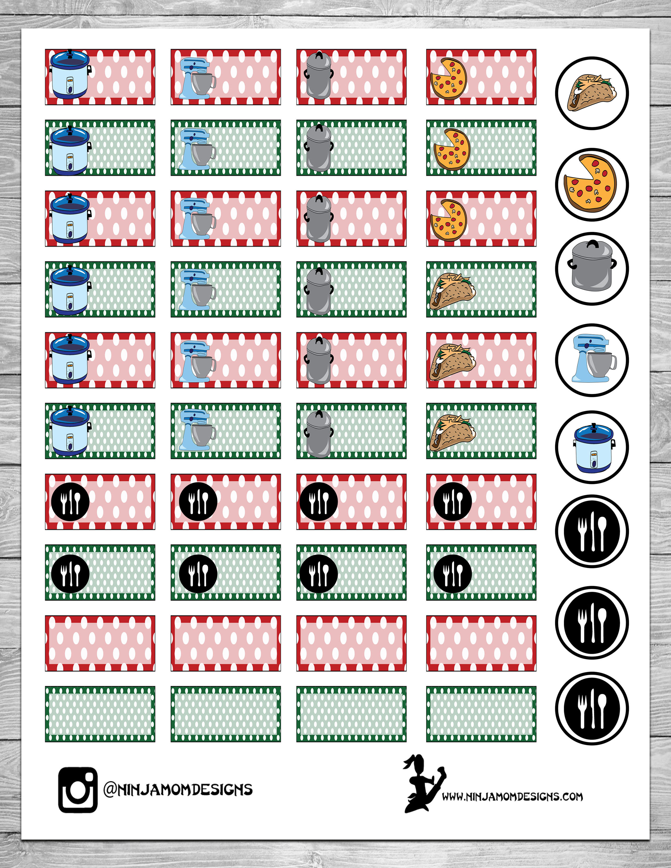 picture relating to Free Printable Food Planner Stickers named Free of charge Inexperienced and Purple Supper Developing Planner Sticker Printable