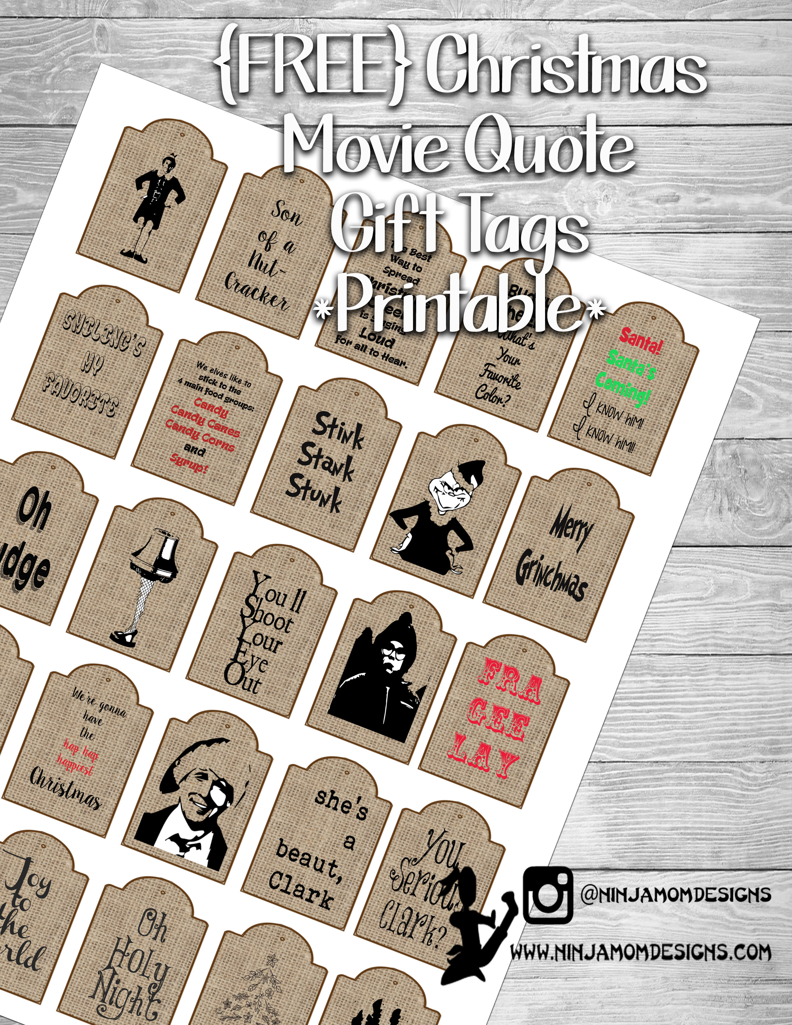 FREE} Christmas Movie Quote Gift Tags Printable