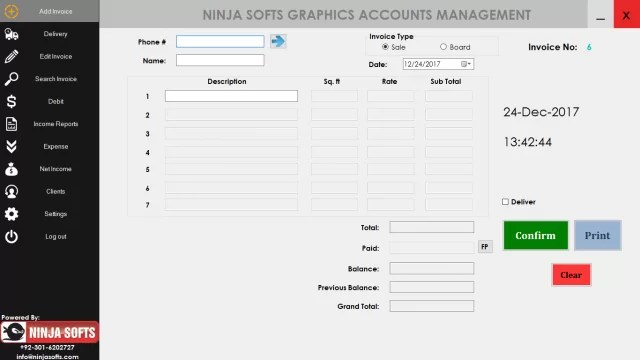 Ninja Softs Printing & Advertising Agency Accounts Software