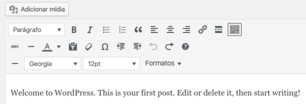Barra do Editor com as Novas Opções