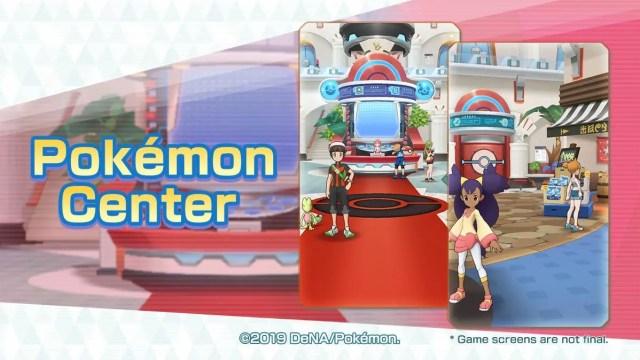 Captures of Pokémon Masters show us a Pokémon Center and a new Passio area