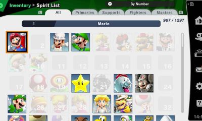 Super Smash Bros. Ultimate Spirit List Screenshot