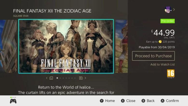 Final Fantasy XII The Zodiac Age eShop Screenshot