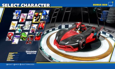 Team Sonic Racing Characters Selection Screenshot
