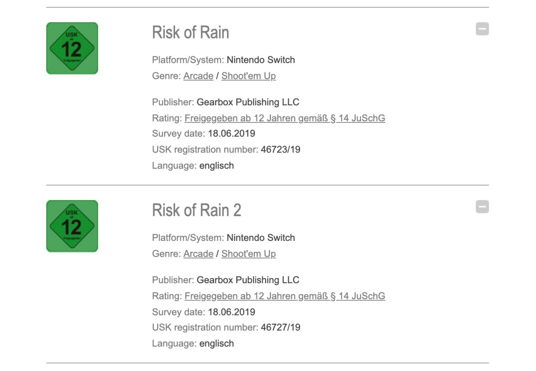 USK Risk of Rain 2 Rating Screenshot