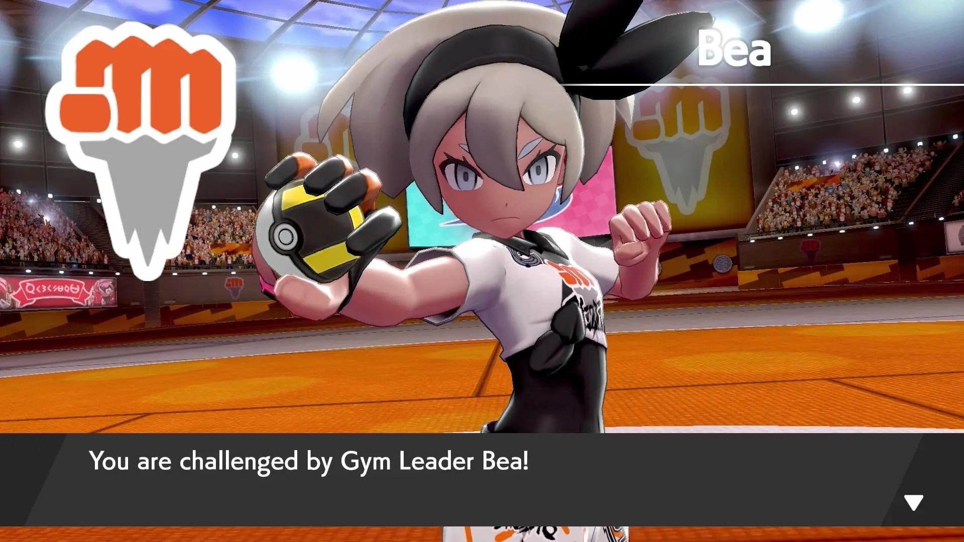 Gym Leader Bea Pokémon Sword Screenshot