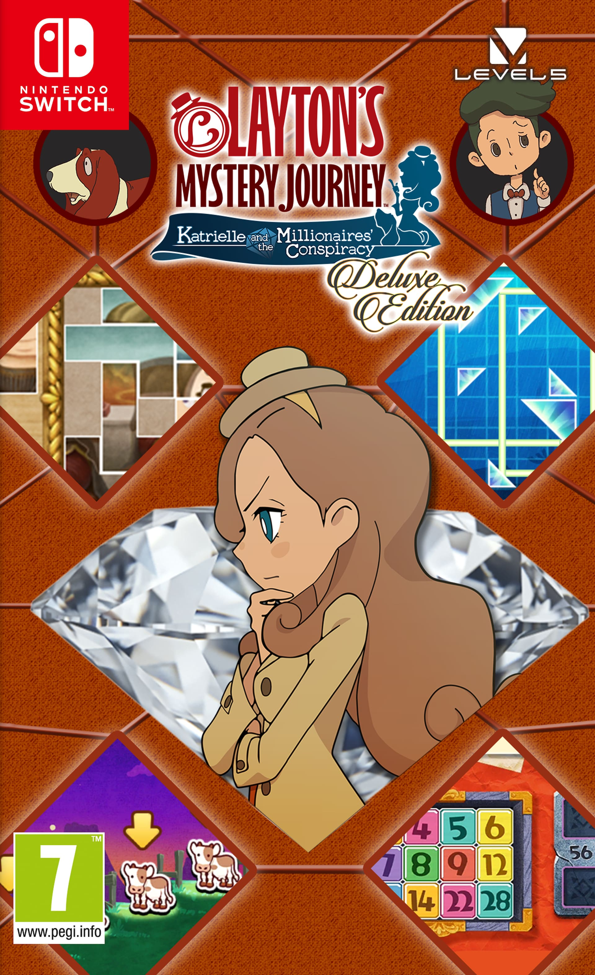 Layton's Mystery Journey: Katrielle and the Millionaires' Conspiracy Deluxe Edition Switch Box Art