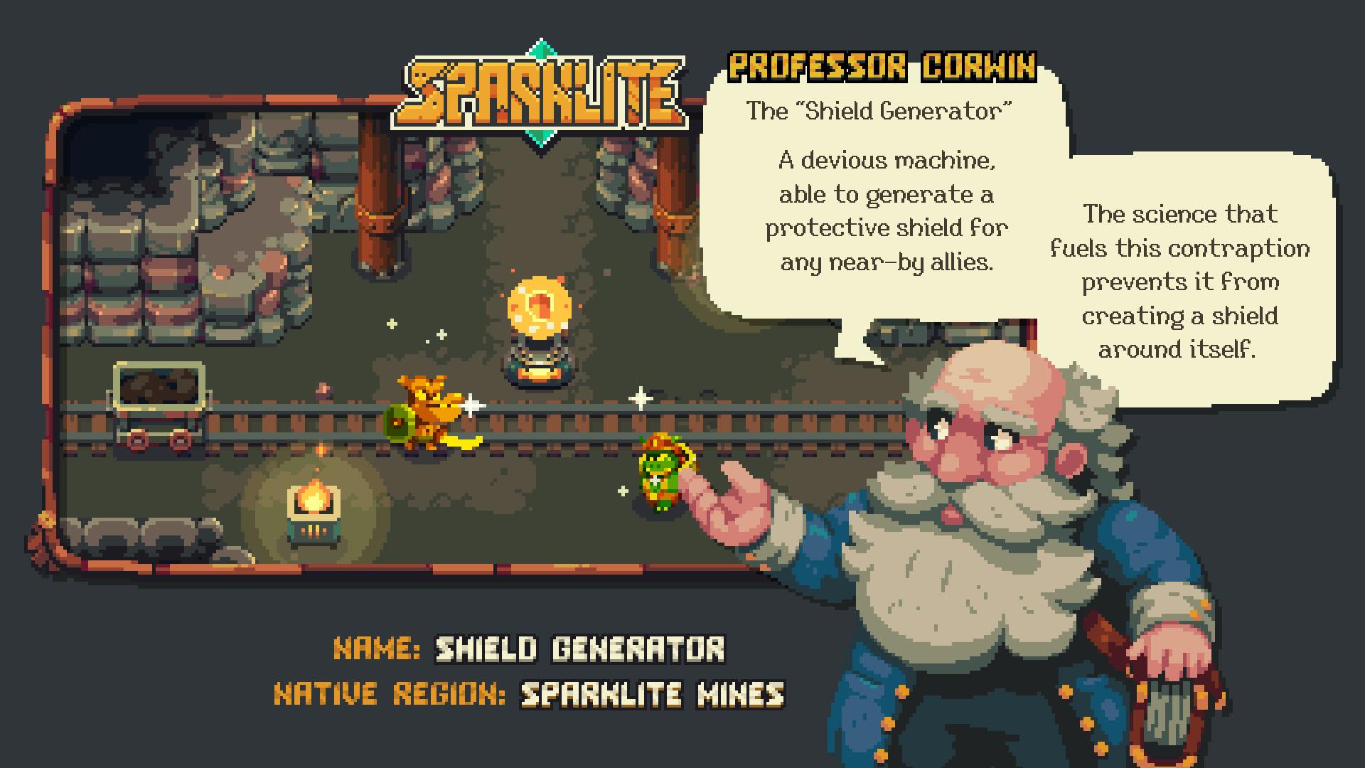 Sparklite Professor Corwin Shield Generator Screenshot