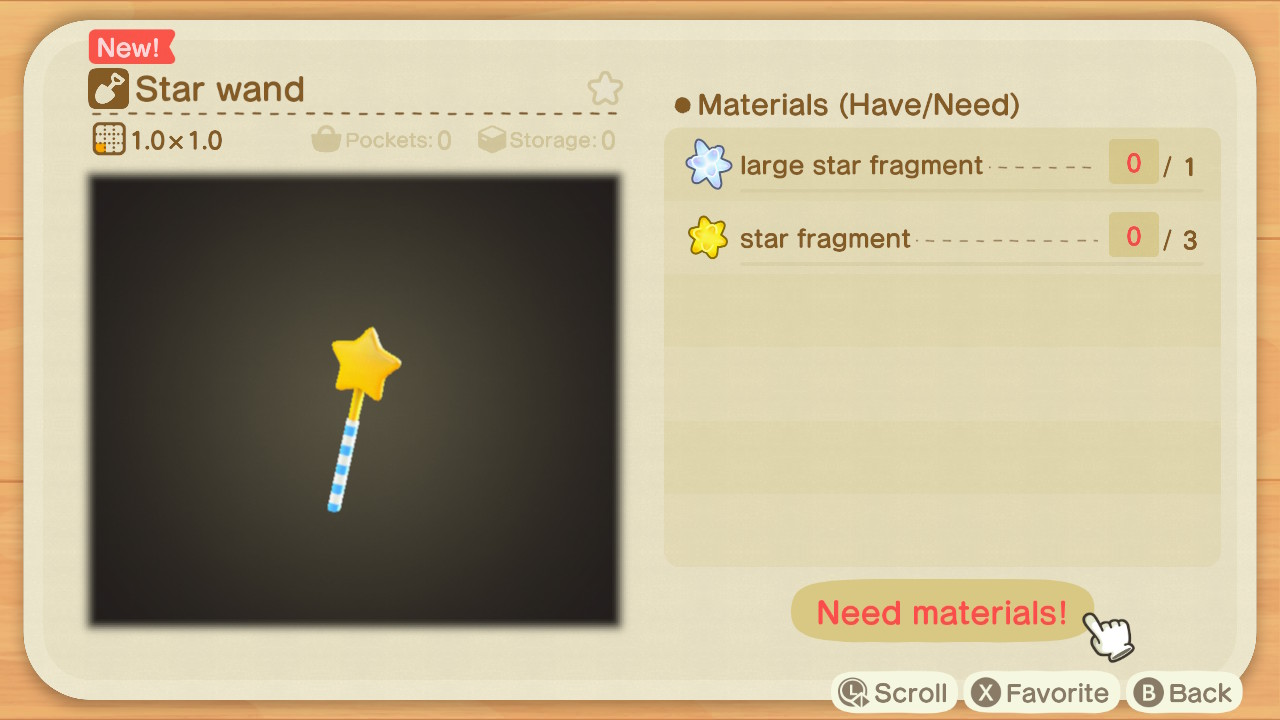 Animal Crossing: New Horizons Star Wand DIY Recipe Screenshot