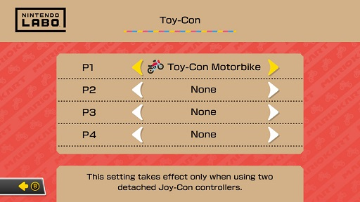 Toy-Con Motorbike selected for Player 1 on the Settings screen