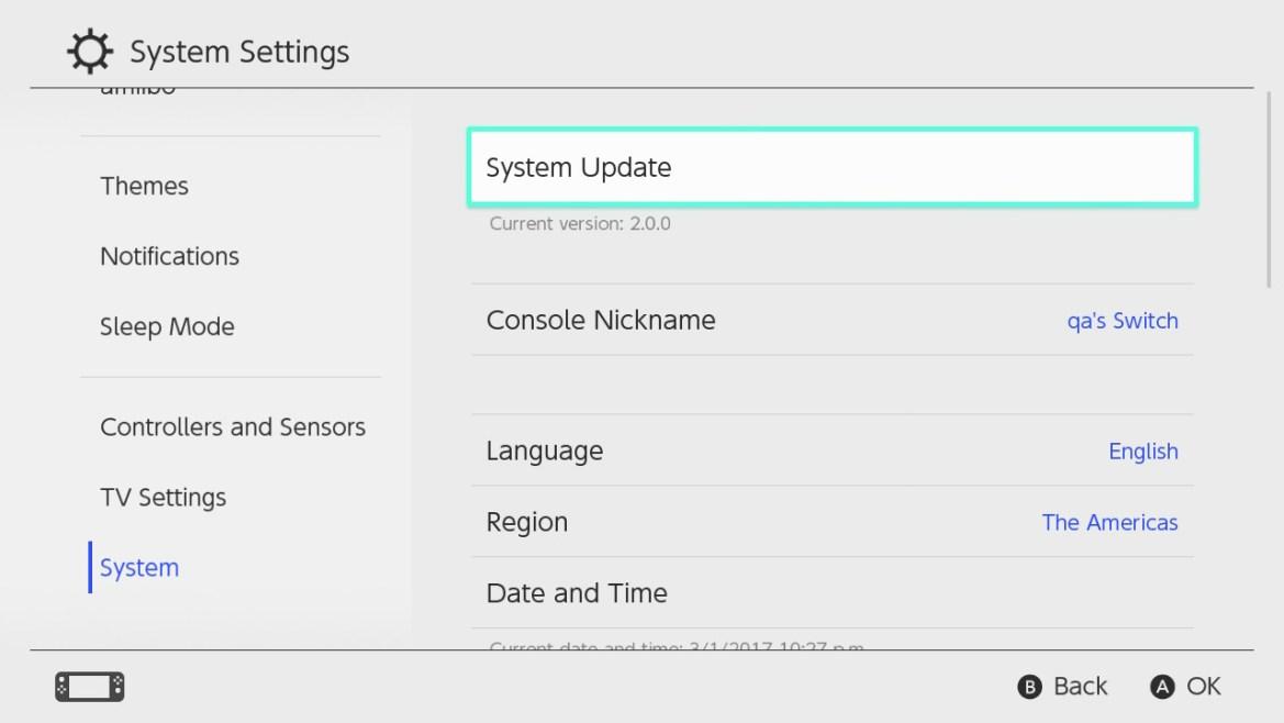 Configuración del Sistema Nintendo Switch