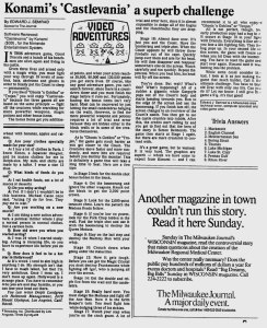Castlevania Review - Ed Semrad - Milwaukee Journal - June 27 1987