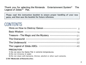 The Legend of Zelda Instruction Booklet - 2