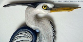 Detail of Great Blue Heron carving.